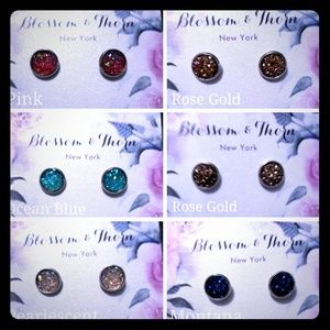 Pearlescent Druzy Surgical Steel post earings
